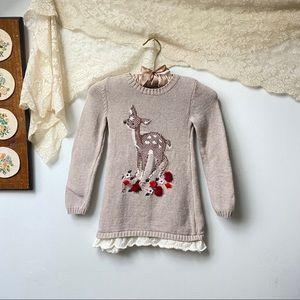 Embroidered Deer Sweater Dress